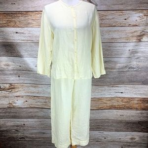 Eileen Fisher 2 Piece Pant Set Outfit Lounge Linen